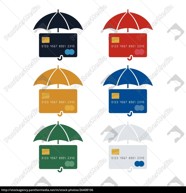 credit, card, icon, with, umbrella - 26408106