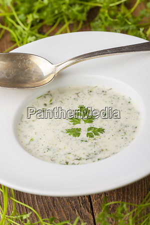 fresh chervil soup in a bowl