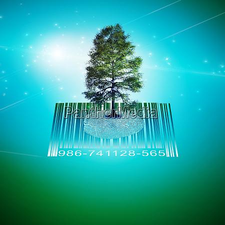 surrealism green tree on fingerprint and