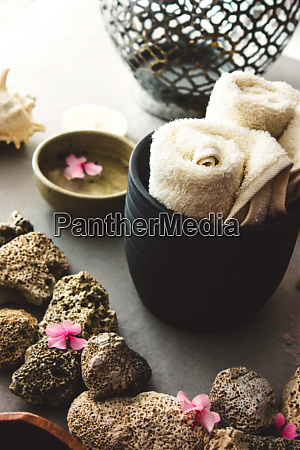 spa products with towel
