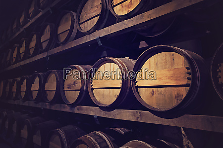 wine cellar with a row of