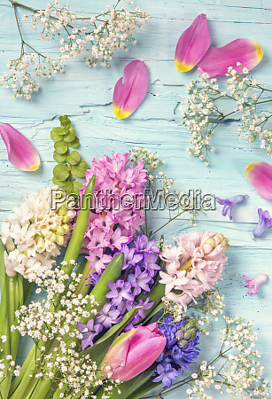 tulips and hyacinth flowers