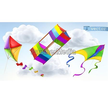 kite 3d vector icon set