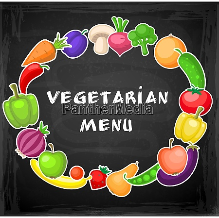 vegetarian background with fruits and vegetables