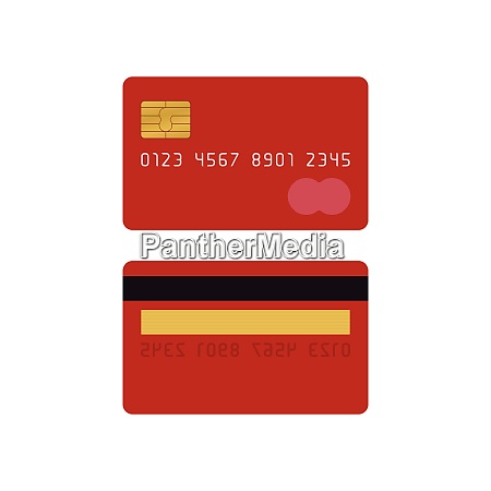 red credit card front and back