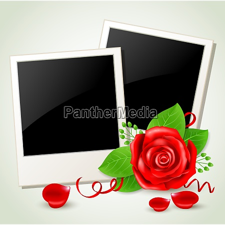 romantic background with photo and red