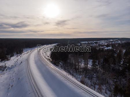 aerial drone photo of railway