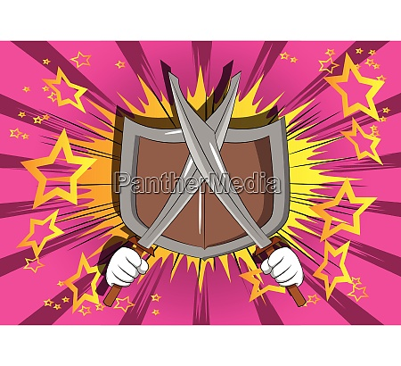 cartoon hands holding two swords with