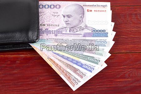 cambodian riel in the black wallet