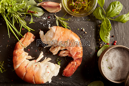 fresh prawn tails with herbs and