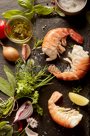 ingredient for gourmet seafood appetizer