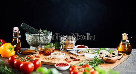 herbs spices and ingredients for italian