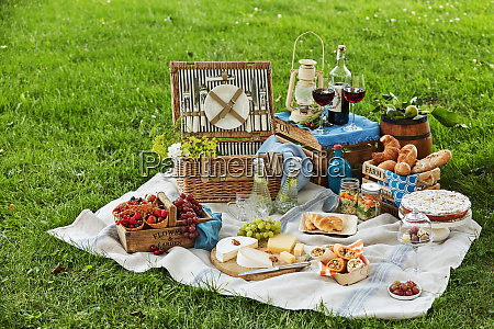 gourmet picnic spread with wine and