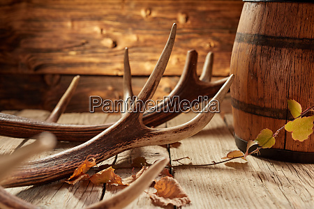 rustic house decoration of antler and