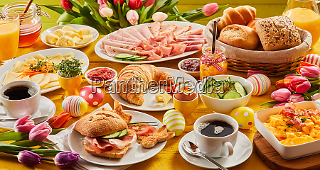 heart easter breakfast with eggs and