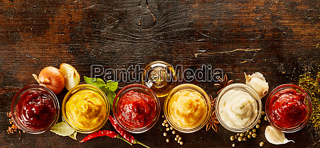 overhead view of assorted sauces and
