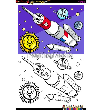 space rocket character coloring book