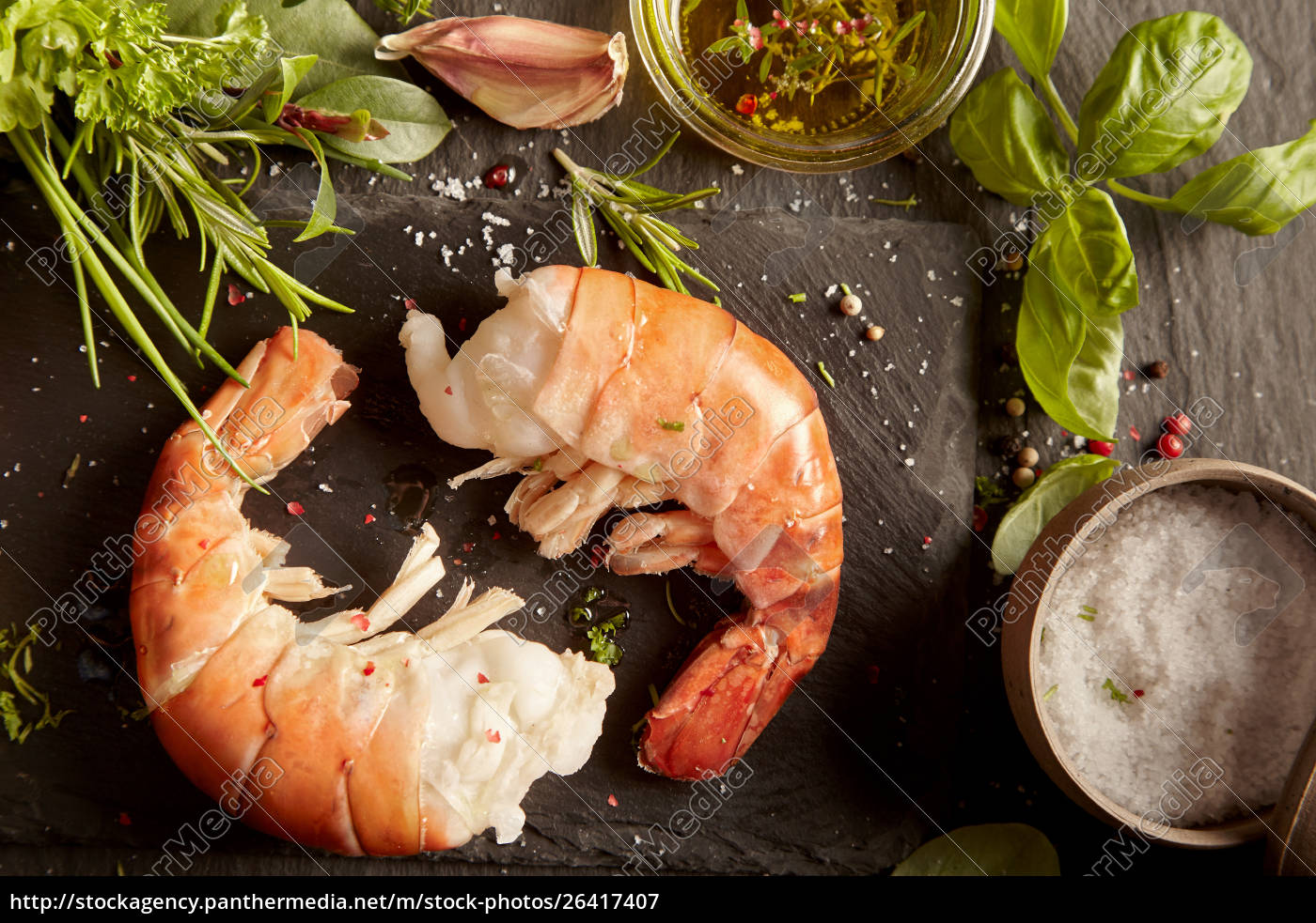 fresh, prawn, tails, with, herbs, and - 26417407