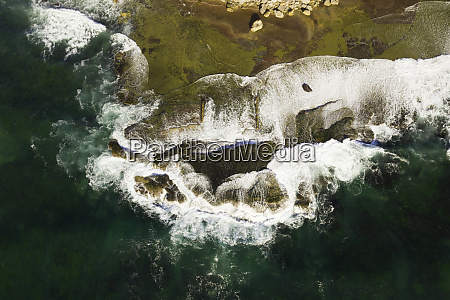 aerial view of rock ledge with