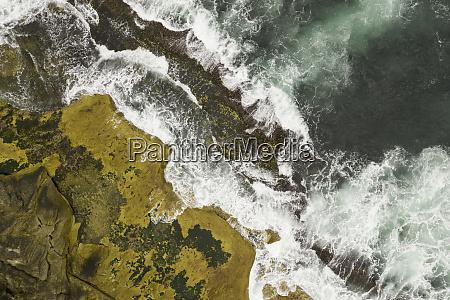 aerial shot ofr rock ledge and