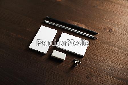 business cards pencils eraser