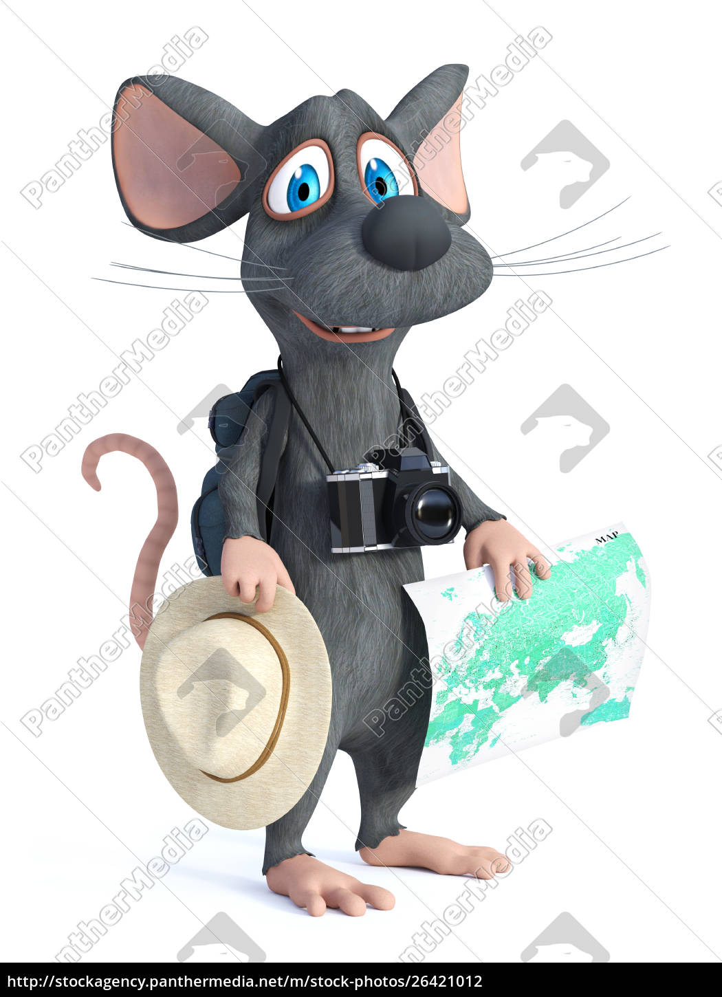 Royalty Free Photo 26421012 3d Rendering Of A Cartoon Mouse Tourist Backpacking