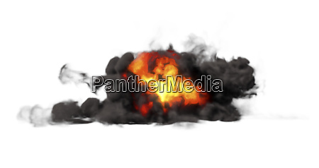 ground explosion with thick heavy smoke