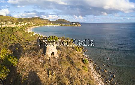 panoramic of cades bay and ruin