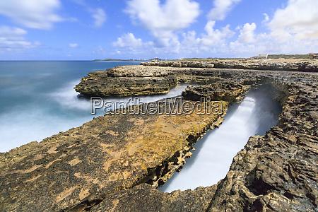 rough sea and cliffs devils bridge
