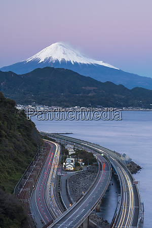 mount fuji and traffic driving on