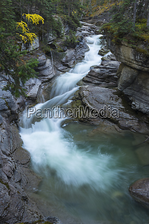 river flowing through maligne canyon with