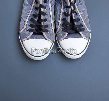pair of old textile sneakers with