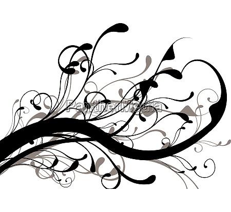 mono black and white floral design