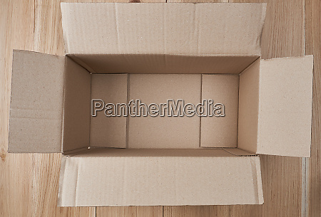 open empty rectangular box of brown