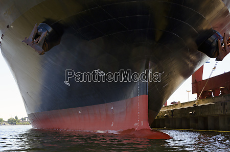 hull of a container ship