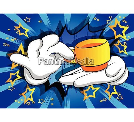 cartoon, hands, holding, a, cup, of - 26443138