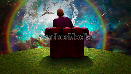 surreal composition man sits in red
