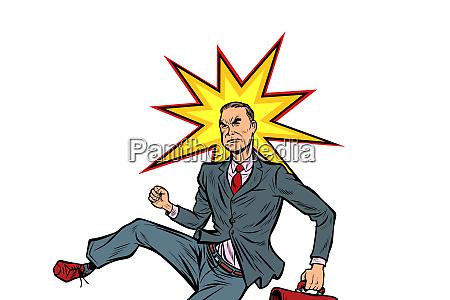businessman hit on the head