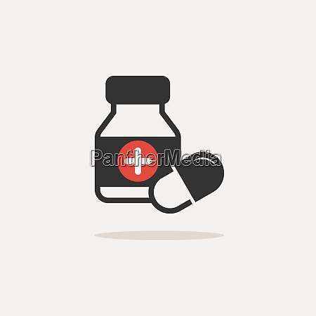 medicine bottle and pills color icon