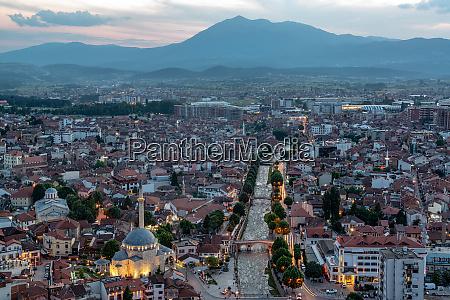 beautiful prizren kosovo cityscape after sunset
