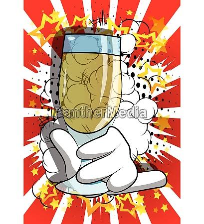 cartoon, hand, holding, full, glass. - 26447405