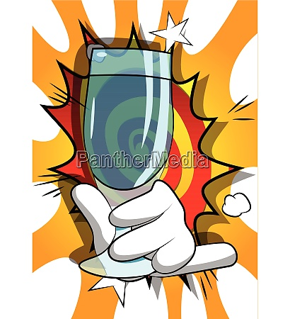 cartoon, hand, holding, full, glass. - 26447409