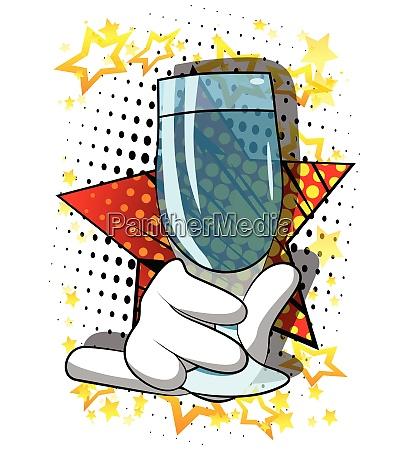 cartoon, hand, holding, full, glass. - 26447412