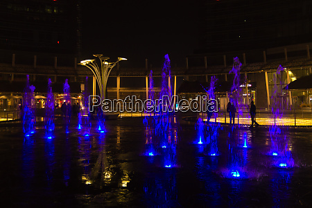 milan italy financial district night view
