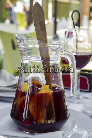 jug of sangria on a white