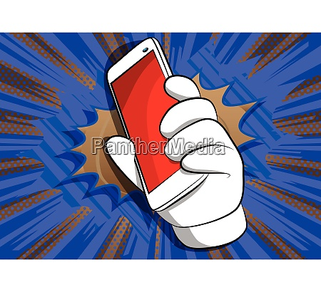 cartoon hand holding a cell phone