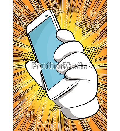 cartoon hand holding a cell phone