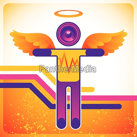 funny background with disco angel