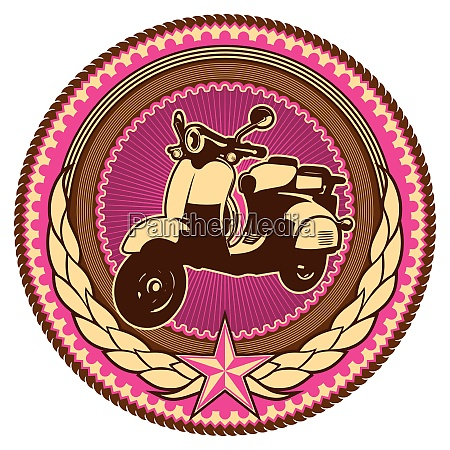 illustrated retro emblem with moped