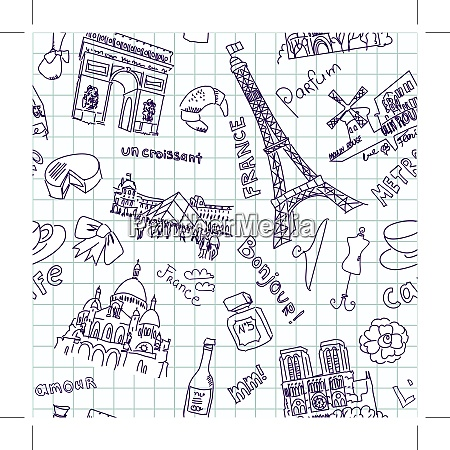 sightseeing in paris doodles seamless background